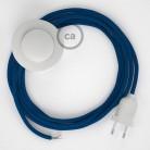 Napajecí kabel pro stojící lampu, RM12 modrý hedvábný 3 m. Vyberte si barvu vypínače a zástrčky.