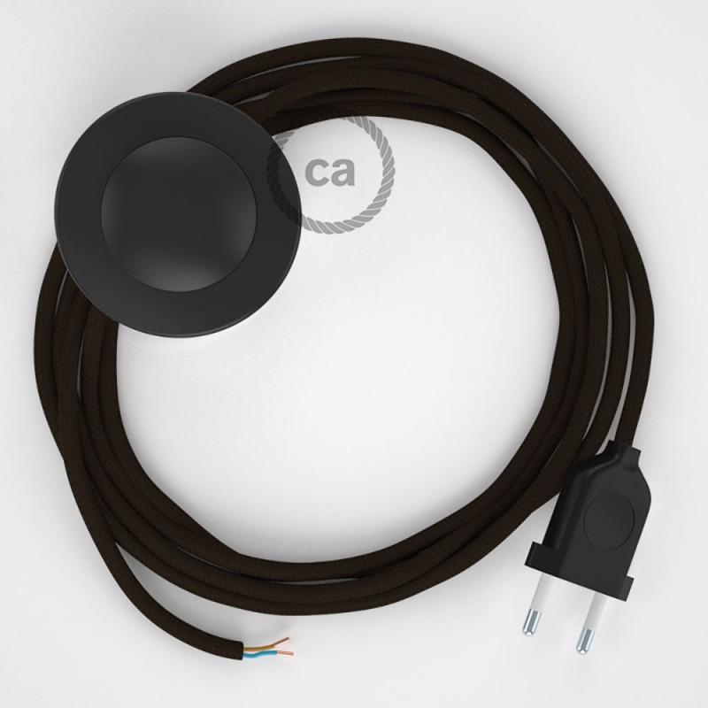 Napajecí kabel pro stojící lampu, RM13 hnědý hedvábný 3 m. Vyberte si barvu vypínače a zástrčky.