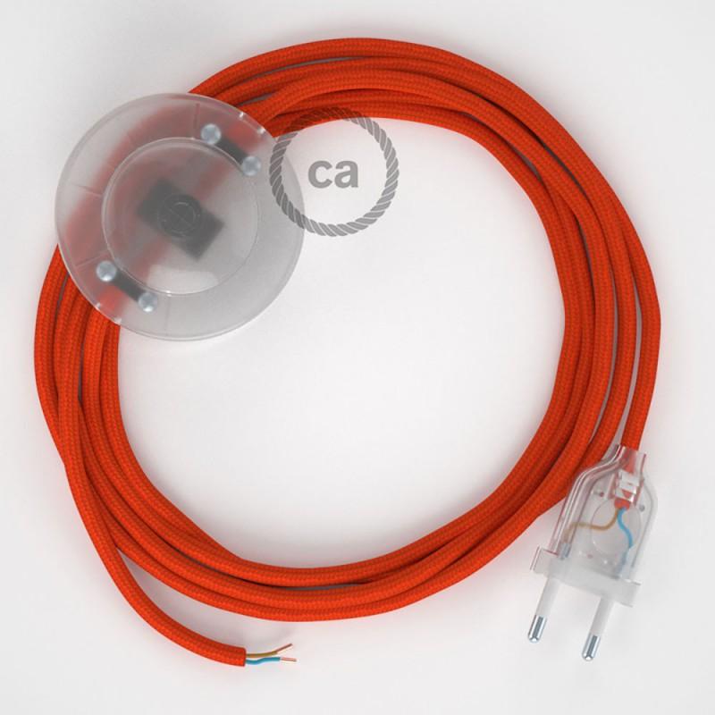 Napajecí kabel pro stojící lampu, RM15 oranžový hedvábný 3 m. Vyberte si barvu vypínače a zástrčky.