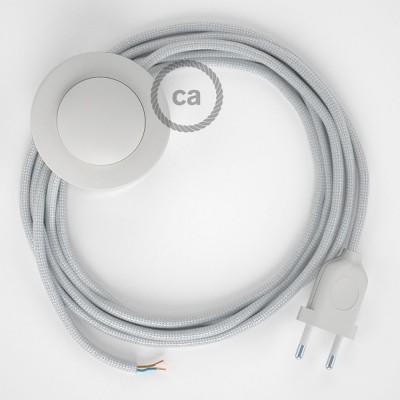 Napajecí kabel pro stojící lampu, RM02 stříbrndý hedvábný 3 m. Vyberte si barvu vypínače a zástrčky.