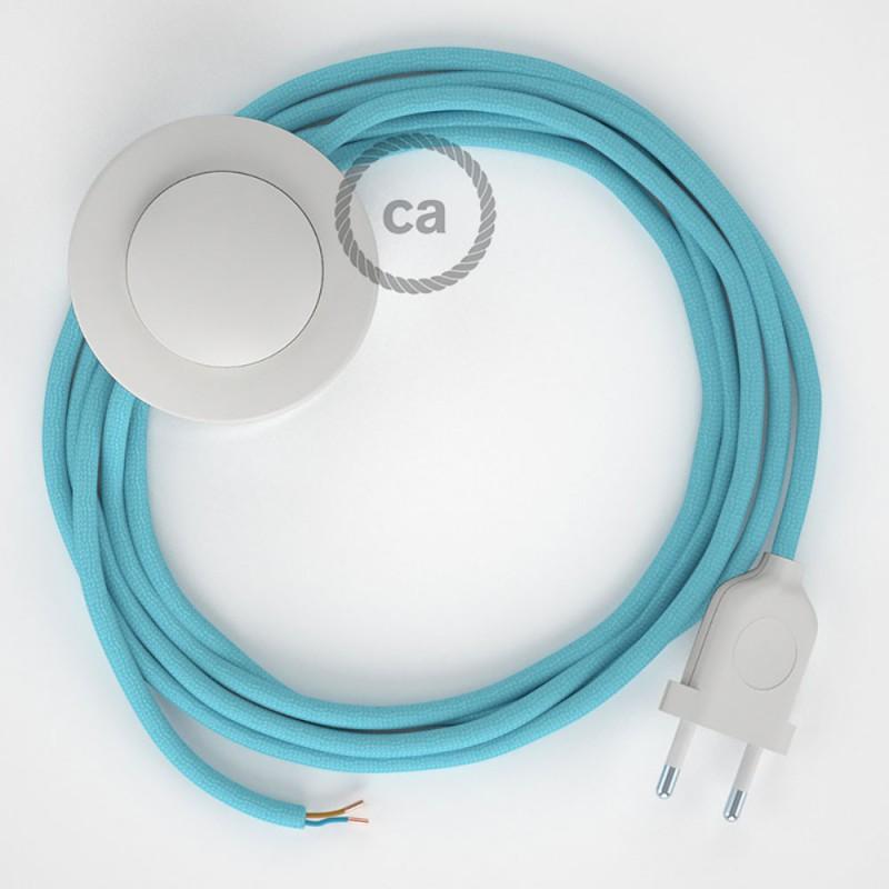Napajecí kabel pro stojící lampu, RM17 azurový hedvábný 3 m. Vyberte si barvu vypínače a zástrčky.