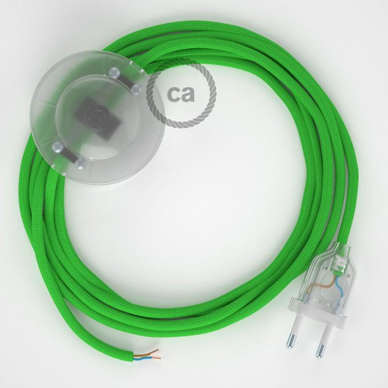 Napajecí kabel pro stojící lampu, RM18 limetkový hedvábný 3 m. Vyberte si barvu vypínače a zástrčky.
