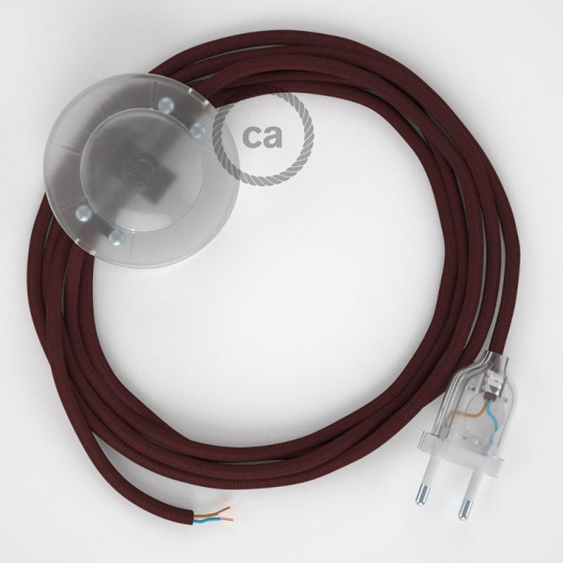 Napajecí kabel pro stojící lampu, RM19 bordový hedvábný 3 m. Vyberte si barvu vypínače a zástrčky.