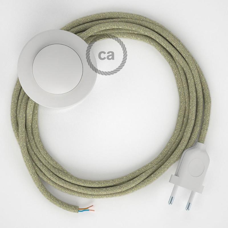 Napajecí kabel pro stojící lampu, RN01 neutrální přírodní lněný 3 m. Vyberte si barvu vypínače a zástrčky.