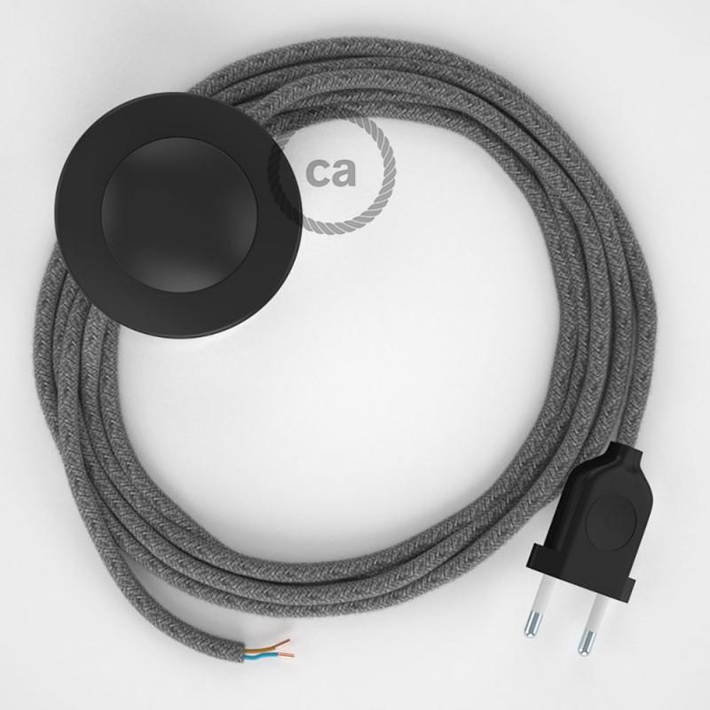 Napajecí kabel pro stojící lampu, RN02 šedý přírodní lněný 3 m. Vyberte si barvu vypínače a zástrčky.