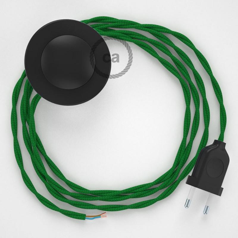 Napajecí kabel pro stojící lampu, TM06 zelený hedvábný 3 m. Vyberte si barvu vypínače a zástrčky.