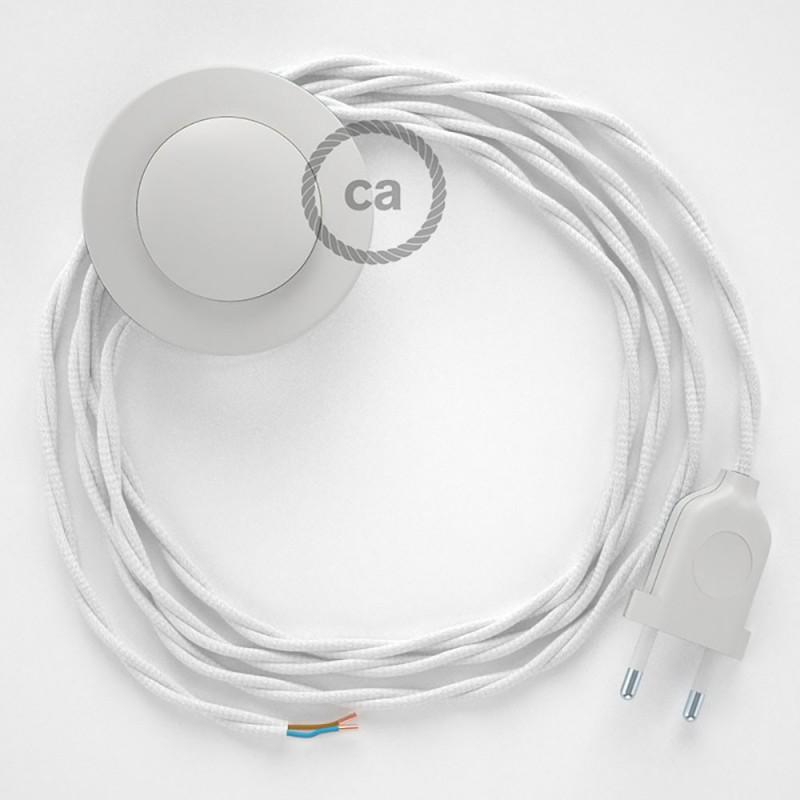 Napajecí kabel pro stojící lampu, TM01 bílý hedvábný 3 m. Vyberte si barvu vypínače a zástrčky.