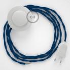 Napajecí kabel pro stojící lampu, TM12 modrý hedvábný 3 m. Vyberte si barvu vypínače a zástrčky.
