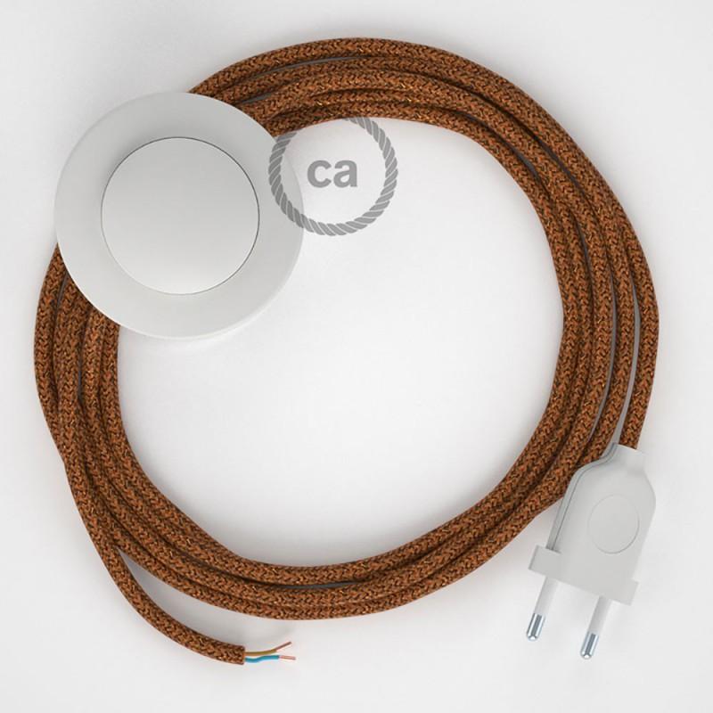 Napajecí kabel pro stojící lampu, RL22 třpytivý měděný hedvábný 3 m. Vyberte si barvu vypínače a zástrčky.