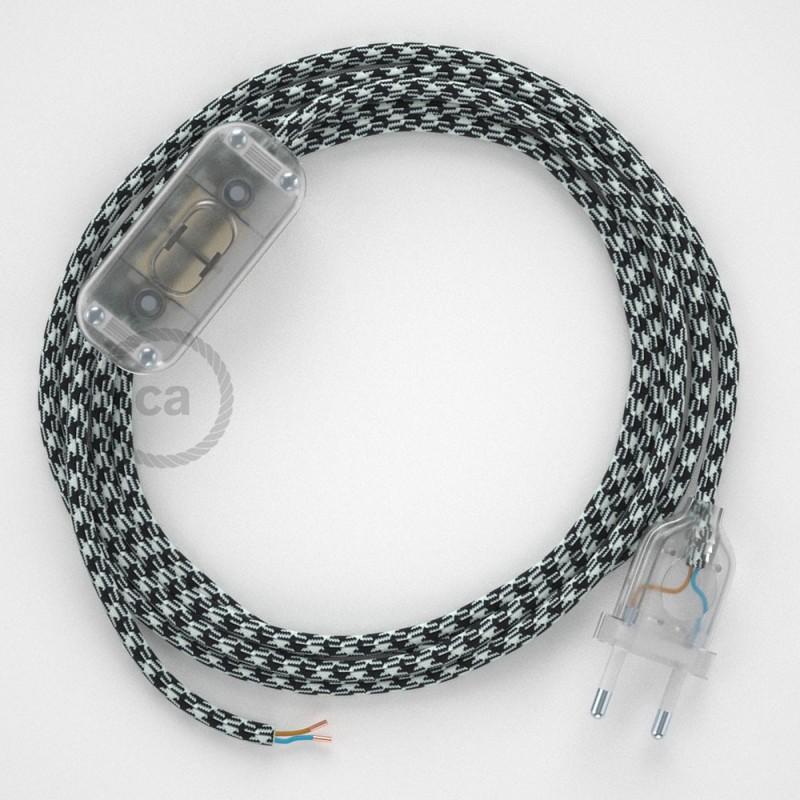 Napájecí kabel pro stolní lampu, RP04 bílo - černý hedvábný 1,80 m. Vyberte si barvu zástrčky a vypínače.