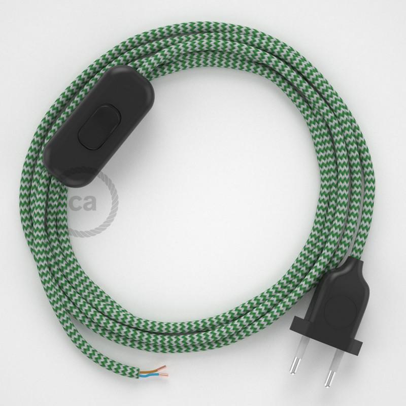 Napájecí kabel pro stolní lampu, RZ06 cik - cak zelený hedvábný 1,80 m. Vyberte si barvu zástrčky a vypínače.