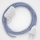 Napájecí kabel pro stolní lampu, RZ07 cik - cak lila hedvábný 1,80 m. Vyberte si barvu zástrčky a vypínače.