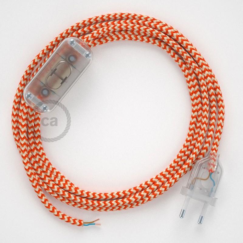 Napájecí kabel pro stolní lampu, RZ15 cik - cak oranžový hedvábný 1,80 m. Vyberte si barvu zástrčky a vypínače.