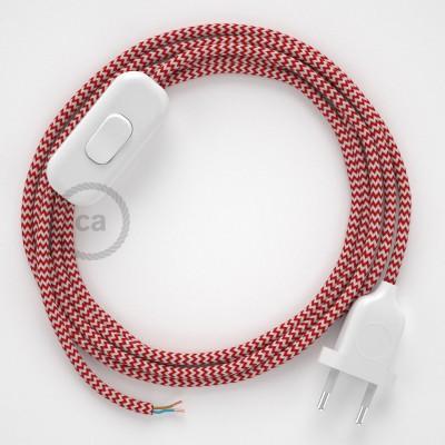 Napájecí kabel pro stolní lampu, RZ09 cik - cak červený hedvábný 1,80 m. Vyberte si barvu zástrčky a vypínače.