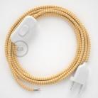 Napájecí kabel pro stolní lampu, RZ10 cik - cak žlutý hedvábný 1,80 m. Vyberte si barvu zástrčky a vypínače.