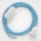 Napájecí kabel pro stolní lampu, RZ11 cik - cak tyrkysový hedvábný 1,80 m. Vyberte si barvu zástrčky a vypínače.