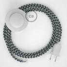 Napajecí kabel pro stojící lampu, RP04 bíle - černý hedvábný 3 m. Vyberte si barvu vypínače a zástrčky.