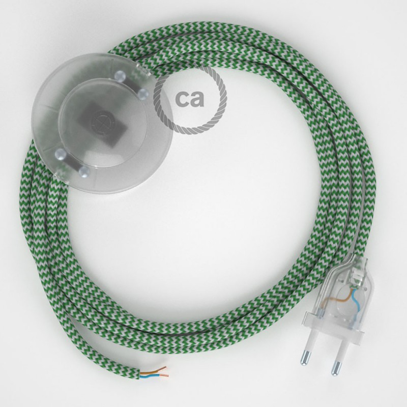 Napajecí kabel pro stojící lampu, RZ06 cik - cak zelený hedvábný 3 m. Vyberte si barvu vypínače a zástrčky.