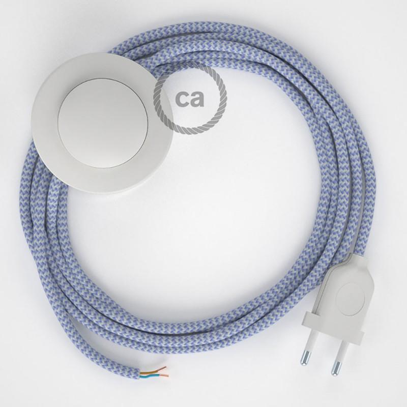 Napajecí kabel pro stojící lampu, RZ07 cik - cak fialový hedvábný 3 m. Vyberte si barvu vypínače a zástrčky.