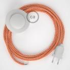 Napajecí kabel pro stojící lampu, RZ15 cik - cak oranžový hedvábný 3 m. Vyberte si barvu vypínače a zástrčky.