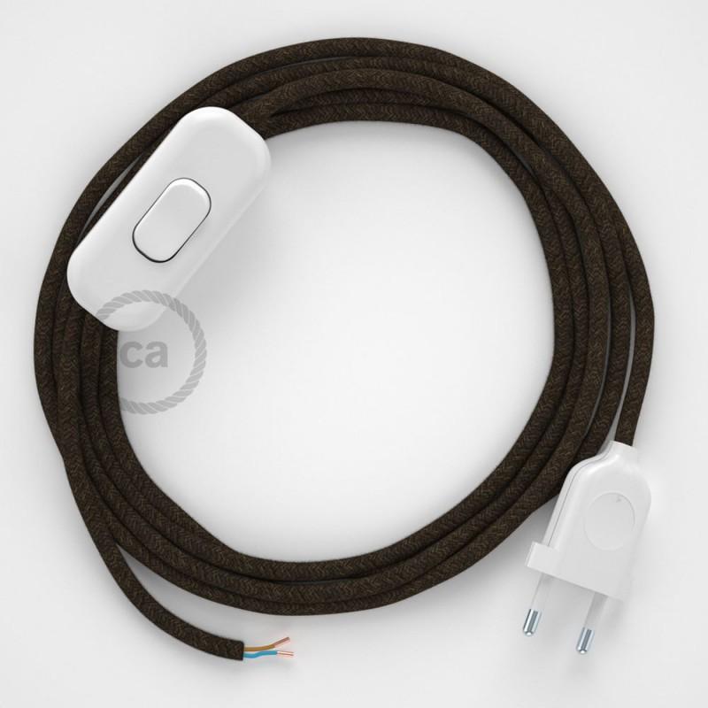 Napájecí kabel pro stolní lampu, RN04 hnědý lněný 1,80 m. Vyberte si barvu zástrčky a vypínače.