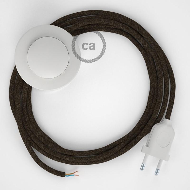 Napajecí kabel pro stojící lampu, RN04 hnědý přírodní len 3 m. Vyberte si barvu vypínače a zástrčky.