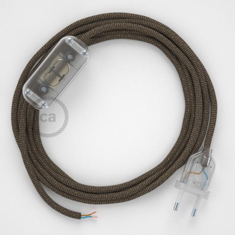 Napájecí kabel pro stolní lampu, RD73 cik - cak kůrový bavlněně - lněný 1,80 m. Vyberte si barvu zástrčky a vypínače.