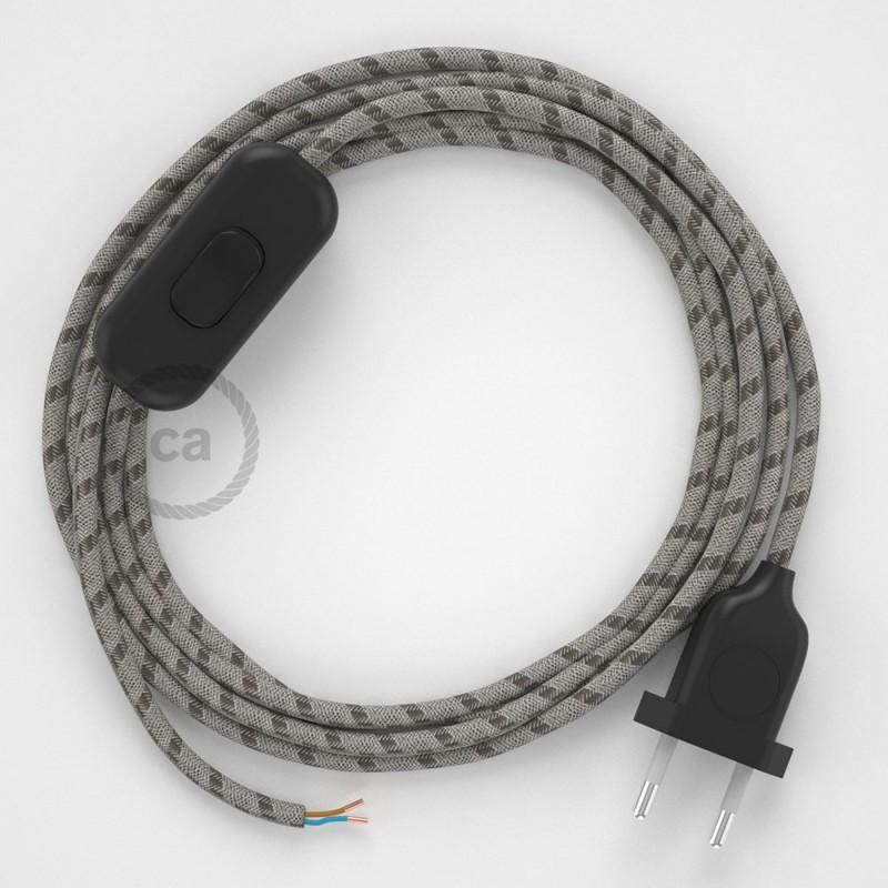 Napájecí kabel pro stolní lampu, RD53 pruhovaný kůrový bavlněně - lněný 1,80 m. Vyberte si barvu zástrčky a vypínače.
