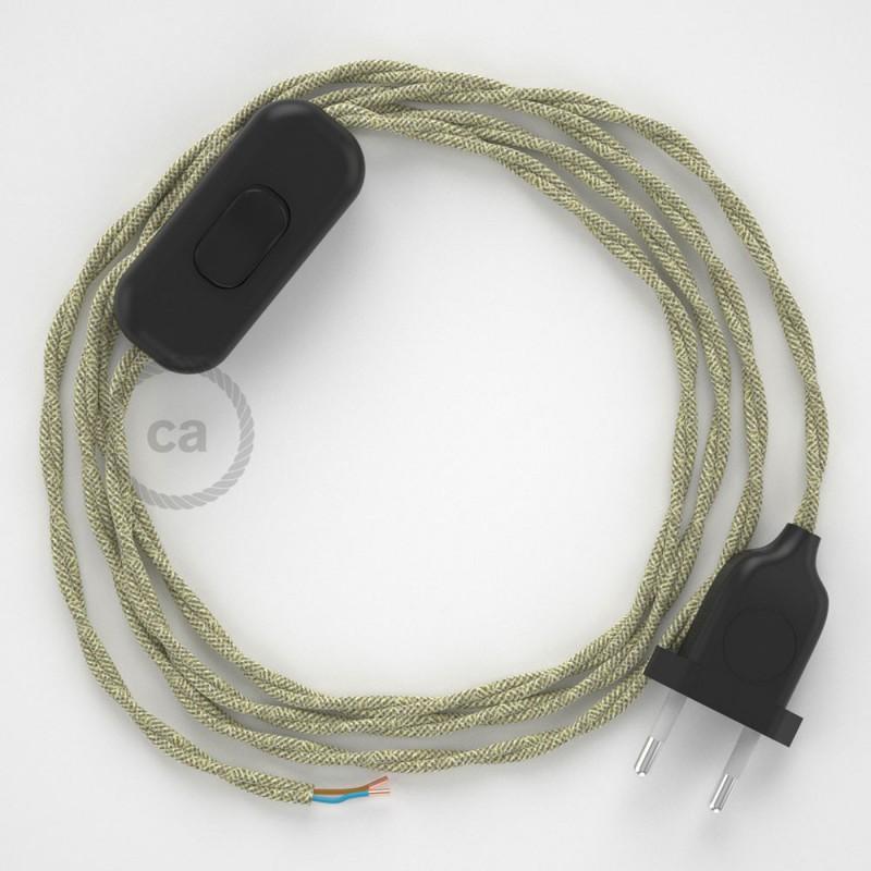 Napájecí kabel pro stolní lampu, TN01 přírodní lněný 1,80 m. Vyberte si barvu zástrčky a vypínače.
