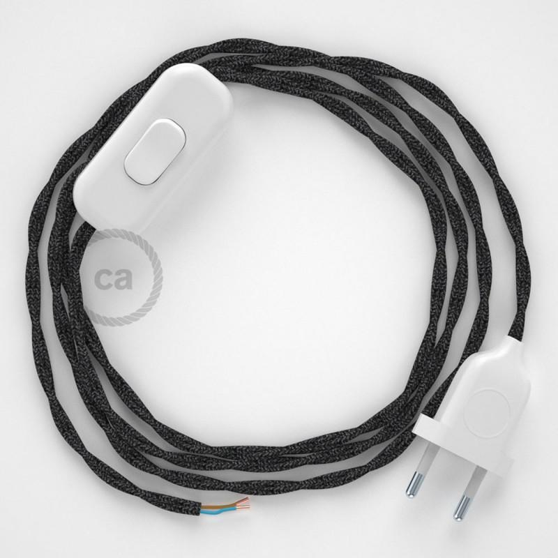 Napájecí kabel pro stolní lampu, TN03 Antracitový lněný 1,80 m. Vyberte si barvu zástrčky a vypínače.