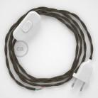 Napájecí kabel pro stolní lampu, TN04 Hnědý lněný 1,80 m. Vyberte si barvu zástrčky a vypínače.