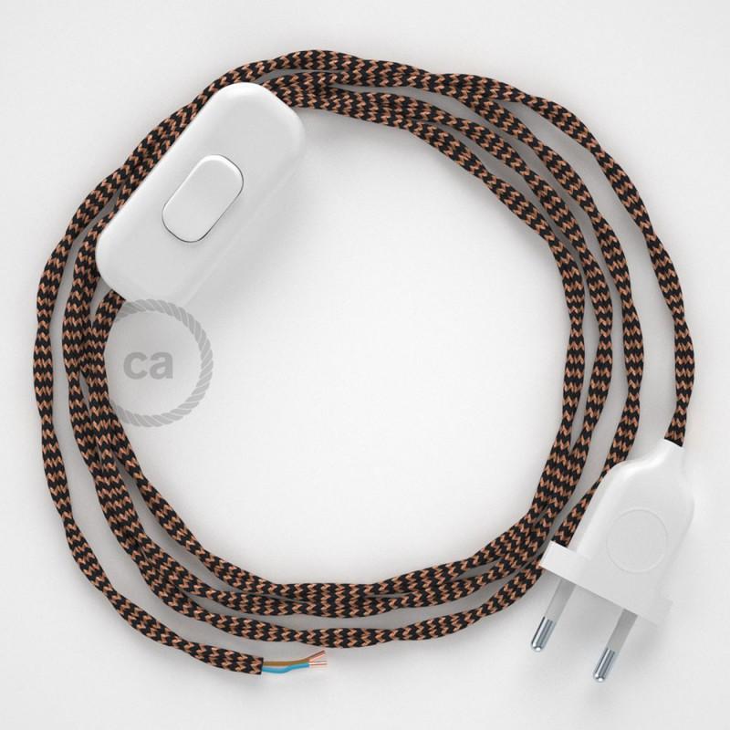 Napájecí kabel pro stolní lampu, TZ22 Černý a whisky hedvábný 1,80 m. Vyberte si barvu zástrčky a vypínače.