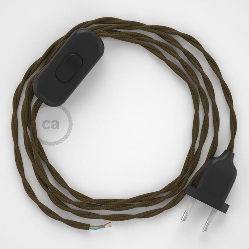 Napájecí kabel pro stolní lampu, TC13 Hnědý bavlněný 1,80 m. Vyberte si barvu zástrčky a vypínače.