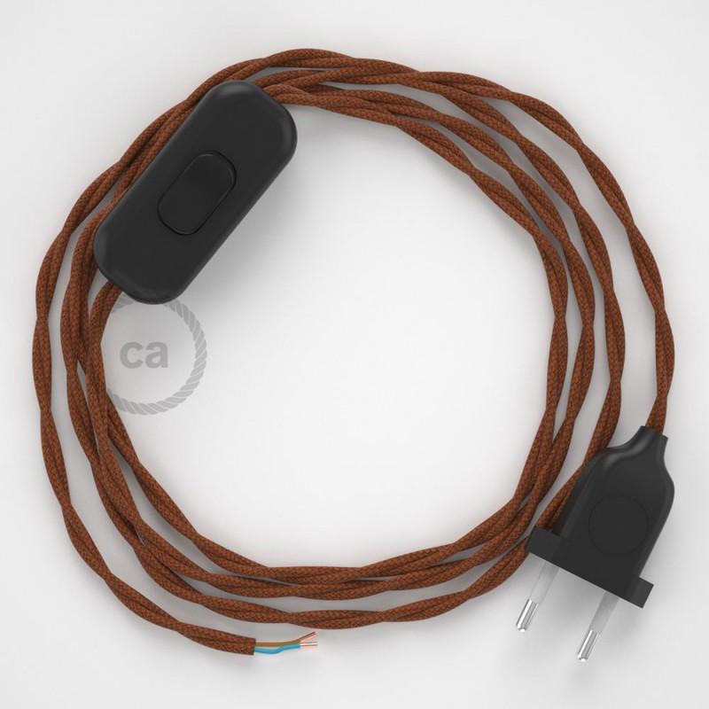 Napájecí kabel pro stolní lampu, TC23 Jelení hnědý bavlněný 1,80 m. Vyberte si barvu zástrčky a vypínače.