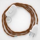Napájecí kabel pro stolní lampu, TM22 Whisky hedvábní 1,80 m. Vyberte si barvu zástrčky a vypínače.