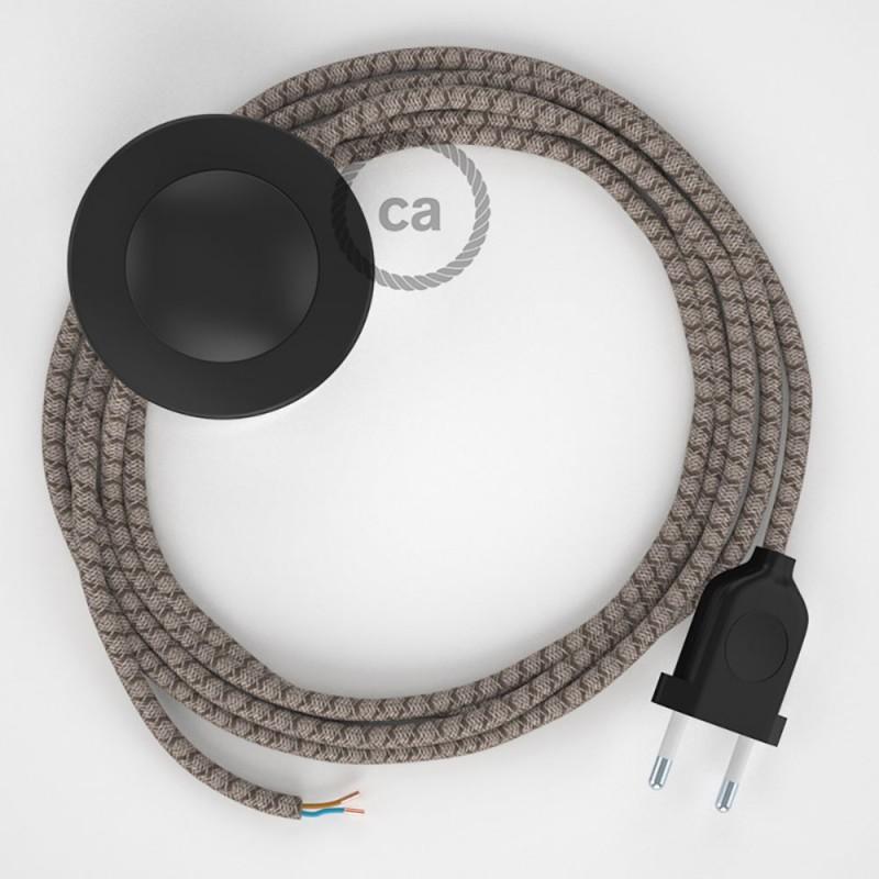 Napajecí kabel pro stojící lampu, RD63 kůrový kosočtvercový bavlněně - lněný 3 m. Vyberte si barvu vypínače a zástrčky.