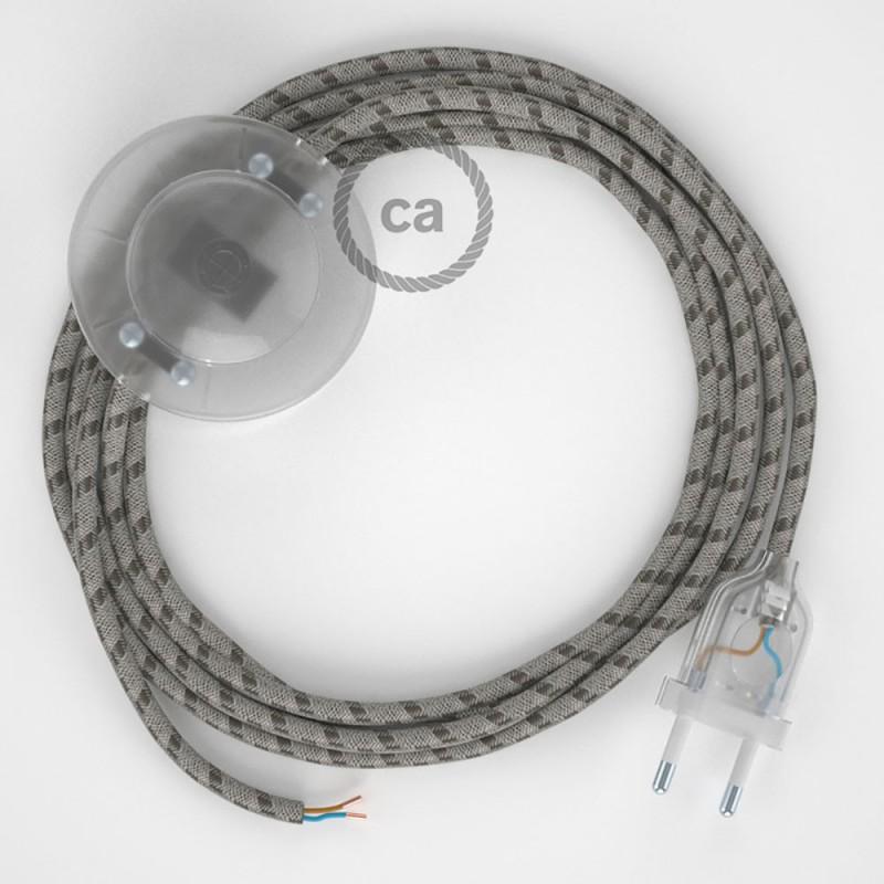Napajecí kabel pro stojící lampu, RD63 kůrový pruhovaný bavlněně - lněný 3 m. Vyberte si barvu vypínače a zástrčky.