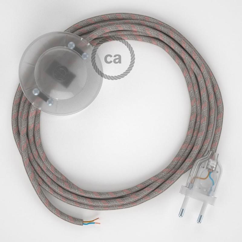 Napajecí kabel pro stojící lampu, RD61 starorůžový pruhovaný bavlna a přírodní len 3 m. Vyberte si barvu vypínače a zástrčky.