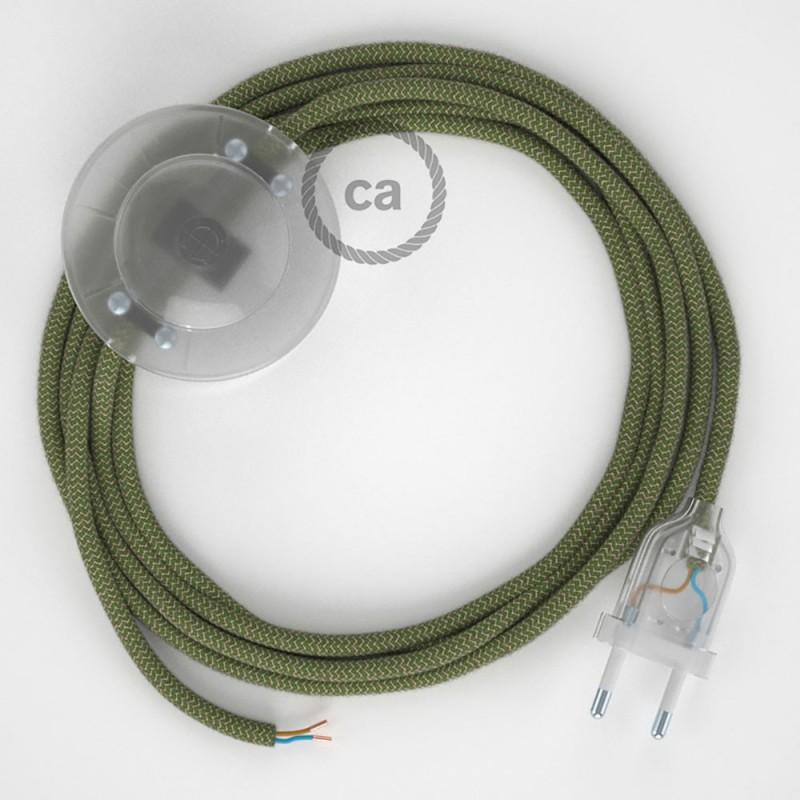 Napajecí kabel pro stojící lampu, RD72 tymiánový pruhovaný bavlna a přírodní len 3 m. Vyberte si barvu vypínače a zástrčky.