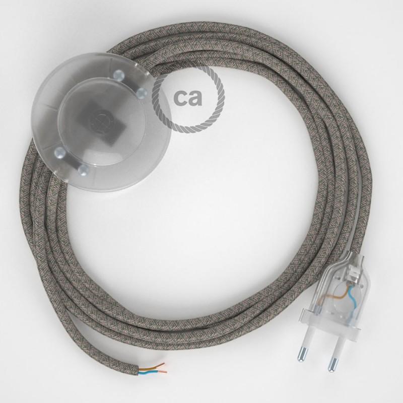 Napajecí kabel pro stojící lampu, RD72 tymiánový kosočtvercový bavlna a přírodní len 3 m. Vyberte si barvu vypínače a zástrčky.