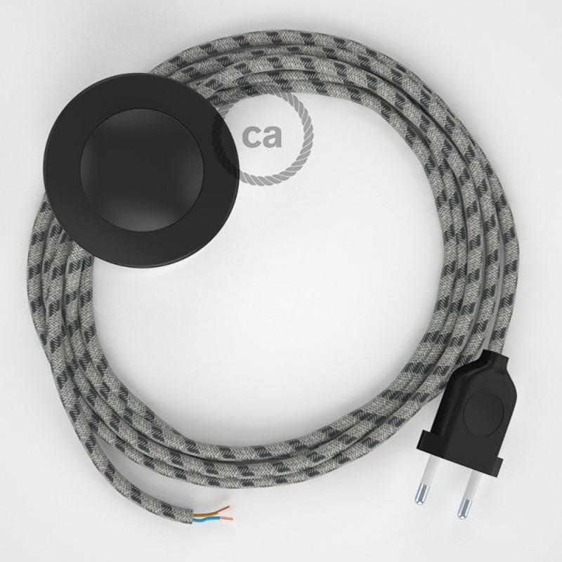 Napajecí kabel pro stojící lampu, RD54 antracitový pruhovaný bavlna a přírodní len 3 m. Vyberte si barvu vypínače a zástrčky.