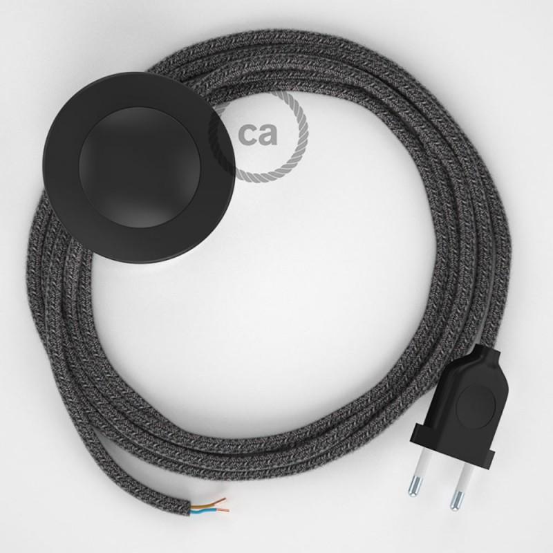 Napajecí kabel pro stojící lampu, RS81 černý bavlna a přírodní len 3 m. Vyberte si barvu vypínače a zástrčky.