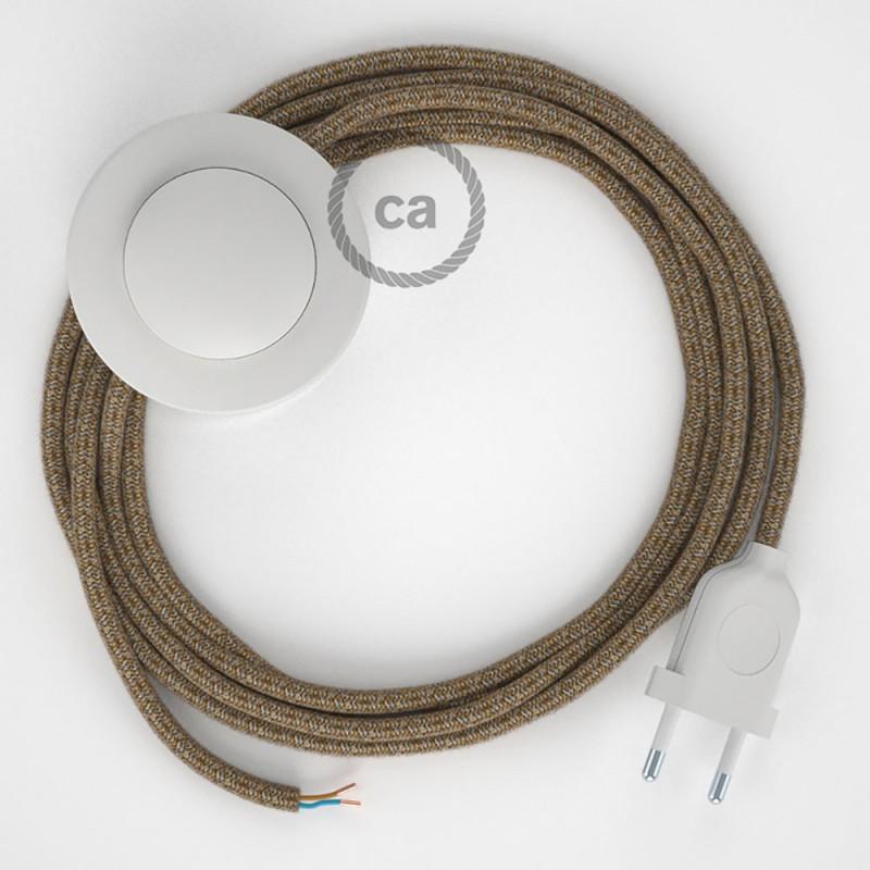 Napajecí kabel pro stojící lampu, RS82 hnědý bavlna a přírodní len 3 m. Vyberte si barvu vypínače a zástrčky.