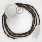 Napajecí kabel pro stojící lampu, TN04 hnědý přírodní len 3 m. Vyberte si barvu vypínače a zástrčky.