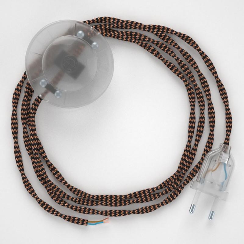 """Napajecí kabel pro stojící lampu, TZ22 černý a """"Whisky"""" hedvábný 3 m. Vyberte si barvu vypínače a zástrčky."""