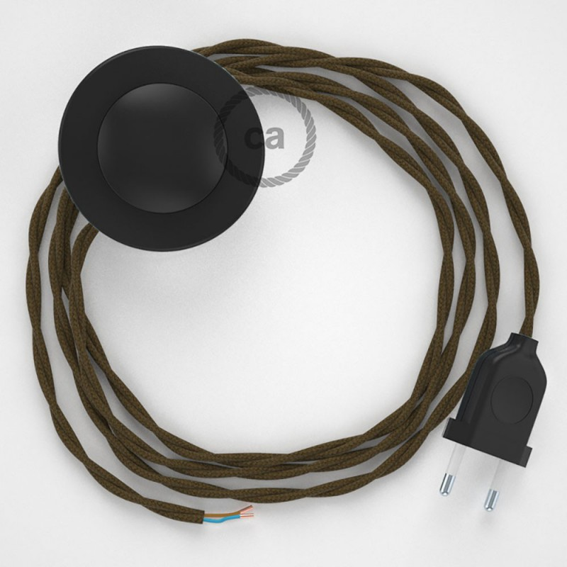 Napajecí kabel pro stojící lampu, TC13 hnědý bavlněný 3 m. Vyberte si barvu vypínače a zástrčky.