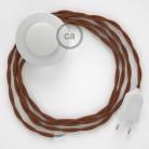 """Napajecí kabel pro stojící lampu, TZ22 """"jelen"""" hnědý bavlněný 3 m. Vyberte si barvu vypínače a zástrčky."""