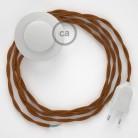 """Napajecí kabel pro stojící lampu, TM22 """"Whisky"""" hedvábný 3 m. Vyberte si barvu vypínače a zástrčky."""