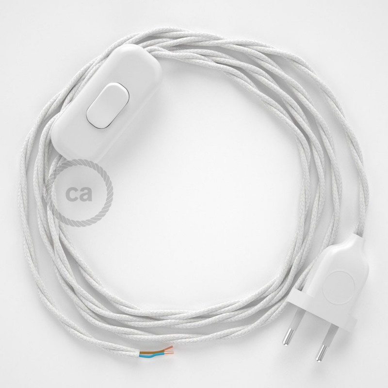 Napájecí kabel pro stolní lampu, TC01 Bílý bavlněný 1,80 m. Vyberte si barvu zástrčky a vypínače.