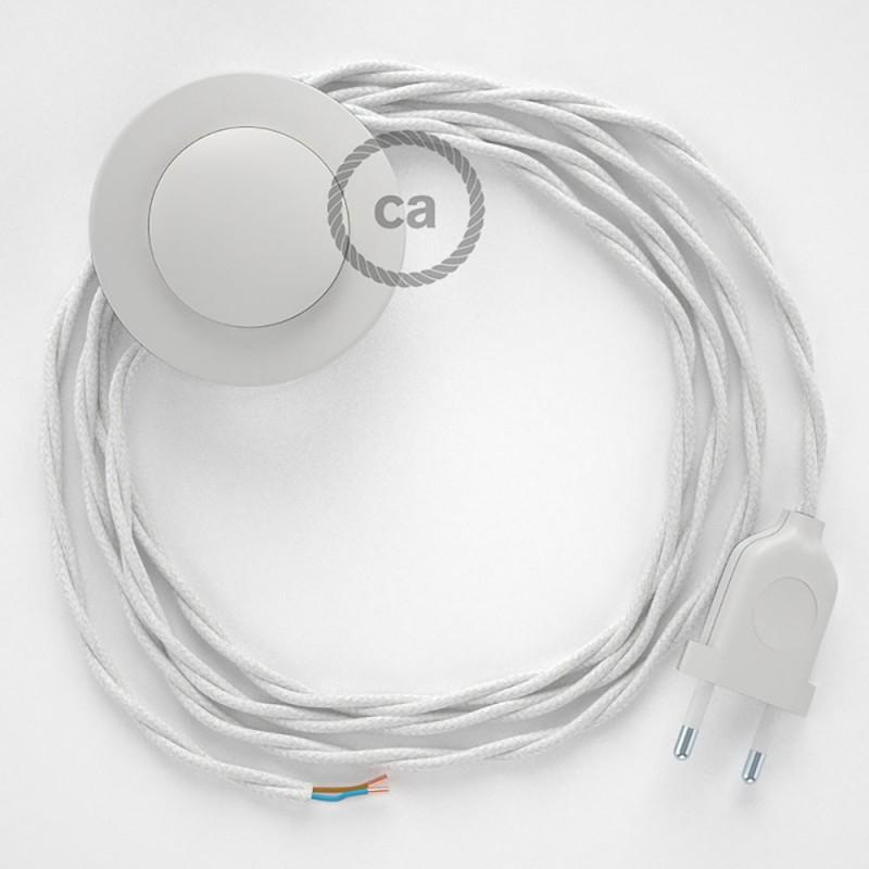 Napajecí kabel pro stojící lampu, TC01 bílý bavlněný 3 m. Vyberte si barvu vypínače a zástrčky.